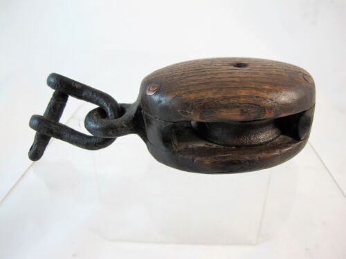SMALL OAK & STEEL PULLEY, C1900