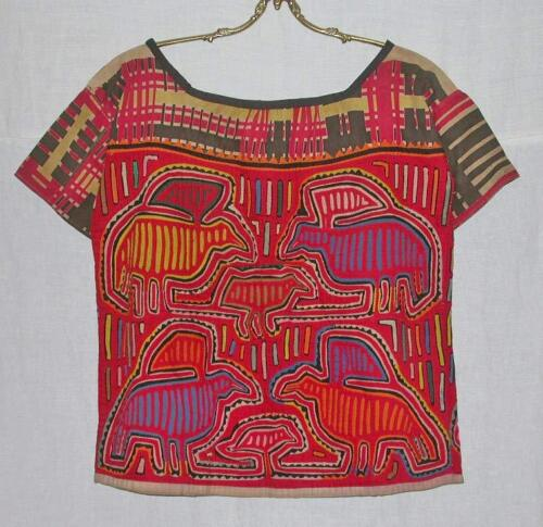 AMAZING EARLY 20thC ANTIQUE KUNA TRIBAL MOLA BLOUSE from SAN BLAS ISLAND PANAMA