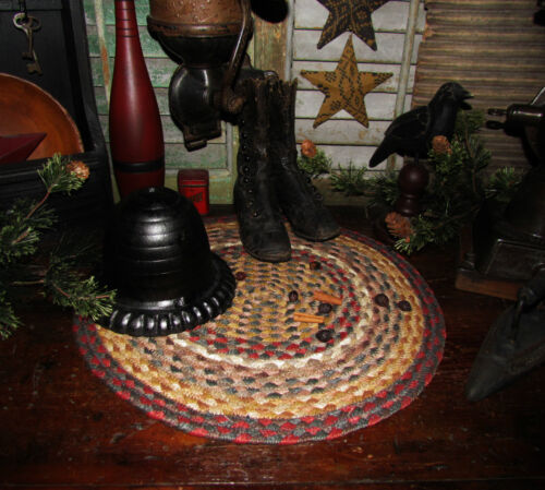 Primitive Vtg Style Country Farmhouse Braided Candle Trivet LARGE ROUND MAT #52
