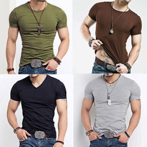 Fashion Men's Tee Shirt Slim Fit V Neck Short Sleeve Muscle Casual Tops T Shirts