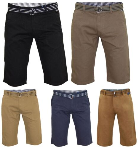 Mens Chino Shorts Slim Fit Stretch Bermuda Cotton Regular Half Pants Free Belt