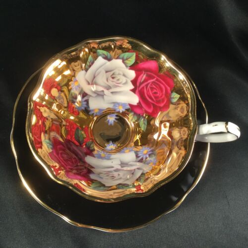 Queen Anne Black Tea Cup Heavy Gold Full Paint Inside Roses Saucer STUNNING !