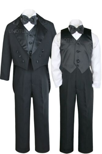 5pc Set Boys Black Formal Tuxedo TUX Suit Vest Wedding Dinner Party Size 4 ST011