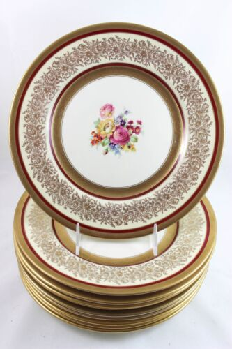 SET 10 EDGERTON CHINA E206-311 DINNER PLATES RAISED GOLD ENCRUSTED FLORAL CREAM