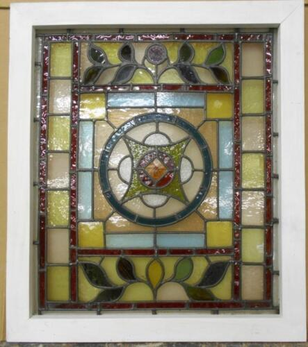 "VICTORIAN ENGLISH LEADED STAINED GLASS WINDOW Beautiful Floral 23.75"" x 27.25"""