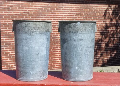 2 EXCELLENT Vintage OLD GALVANIZED Sap Buckets Maple Syrup GREAT STYLE + PATINA!