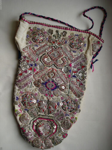 antique ottoman or indian sequinned and silver embroidered purse / bag