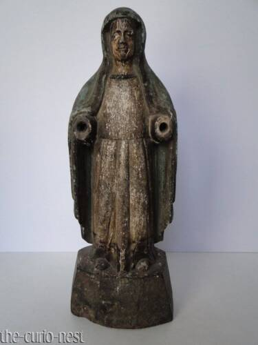 Antique Colonial Spanish SANTOS Immaculate Conception Hand Carved Wood Statue