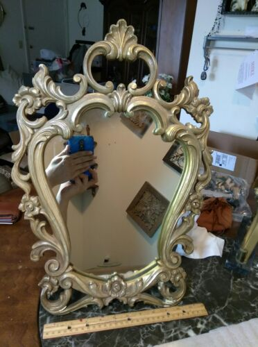 "A LARGE VINTAGE SYROCO WOOD TABLE TOP MIRROR, IT'S 20.75"" X 14.5"" INCHES. U.S.A."