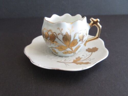Cup and Saucer Demitasse China Porcelain White and Gold Floral unmarked
