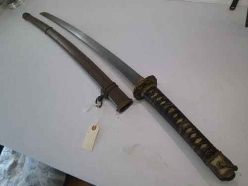 WW2 JAPANESE OFFICERS SWORD WITH SCABBARD SIGNED & DATED #L191