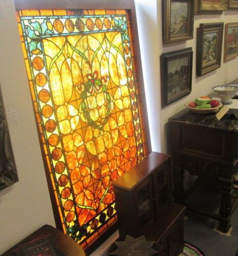 GORGEOUS LARGE 42 x 62 ANTIQUE STAINED GLASS WINDOW W/ 26 JEWELS, RED BOW KNOT