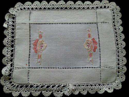 Antique Silk Embroidered Doily Arts Crafts for Tables Home Wedding Cottage Decor