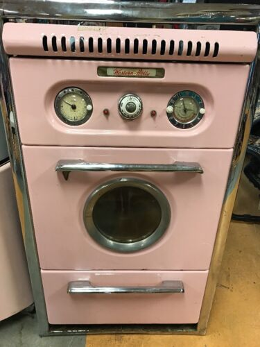 Vintage Western Holly porthole wall oven set - Pink Retro Kitchen 50's 60's