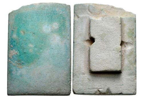 Egyptian Blue-green faience tile. Old Kingdom, 2686-2181, possibly Third Dynasty
