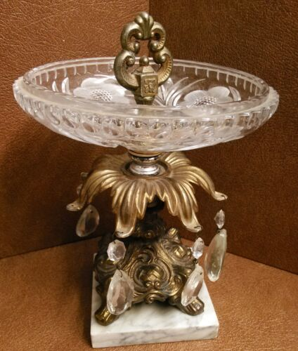 Crystal Cut Glass Candy Dish with Brass & marble Teardrop Chandelier