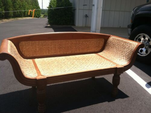 ANTIQUE SETTEE LOVESEAT Cane Bamboo Wicker - Vintage Ornate Wood Couch Sofa