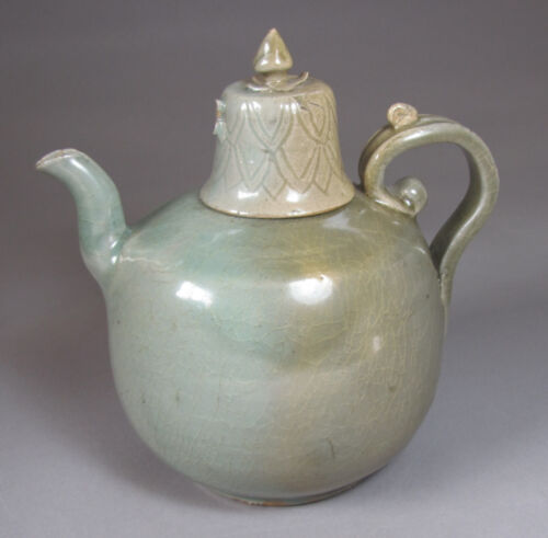 A Very Rare Incised and Carved Korean Celadon Ewer with Lid-13th C
