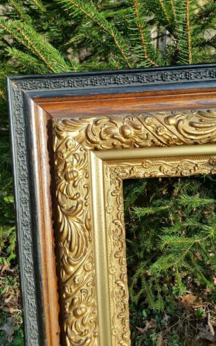 ORNATE Antique VICTORIAN Gold Gilt & Floral Multi Tier Hardwood Picture Frame