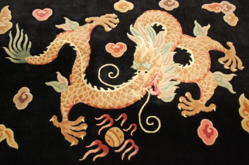 Circa 1970's MINT ART DECO CHINESE DRAGON DESIGN RUG 4x6 COMFORTING SOFT WOOL