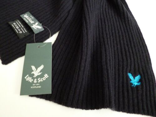 Lyle & and Scott mens scarf navy blue ribbed eagle wool woollen NEW