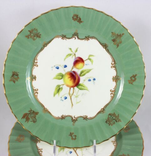 FULL SET 12 ARTIST HORACE PRICE ROYAL WORCESTER CHINA PLATES FRUIT GOLD GREEN