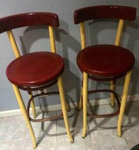 Fischel Astra Bentwood Bar Stools Pair Early 1900s Thonet Czechoslovakia Antique
