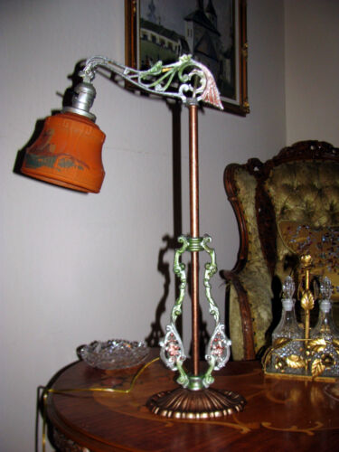 ANTIQUE DECO IRON BRIDGE TABLE FLOOR LAMP GLASS SHADE CHANDELIER FIXTURE 1950's
