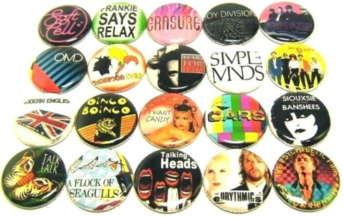 """20 80s NEW WAVE Bands ONE Inch Buttons 1"""" Pins Pinback Badges Set #2 1980s Music"""