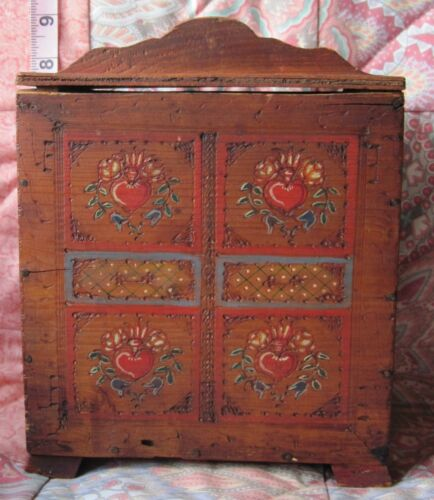 Vtg/Antique Bavarian Wooden Box/Carved & Painted/Marked 'Oberbayern'