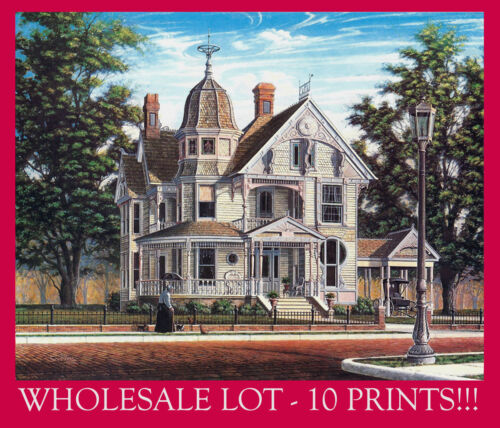 WHOLESALE: 10 PRINTS- Victorian Queen Anne Gingerbread Cat Lady SIGNED Souders