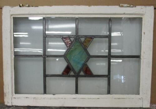 "OLD ENGLISH LEADED STAINED GLASS WINDOW TRANSOM Abstract Diamond 29.5"" x 20"""