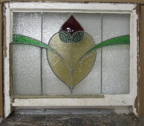 """EDWARDIAN ENGLISH LEADED STAINED GLASS WINDOW Floral Sash 27.25"""" x 23"""""""