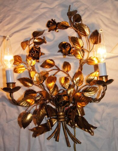 VINTAGE TOLE STEEL GOLD ITALIAN ITALY CHANDELIER WALL LIGHT ROSES FIXTURE 1950's