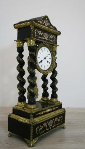 ANTIQUE FRENCH EMPIRE COLUMN CLOCK PORTICO MARQUETRY GILT HUGHE DECORATED