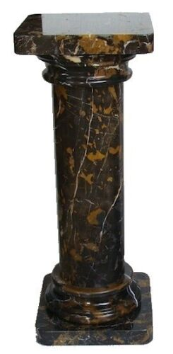 Unique Black and Gold Zebra Marble Pedestal