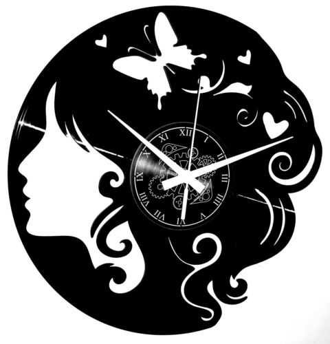 VINYL RECORD WALL CLOCK  - Butterfly Woman Shop Hairdresser Vintage Handmade