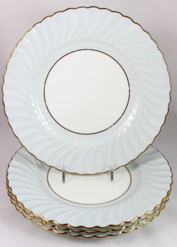 SET 4 VINTAGE MINTON BONE CHINA S390 LUNCHEON PLATES BLUE GOLD WHITE SCALLOPED