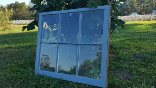 VINTAGE SASH ANTIQUE WOOD WINDOW PICTURE FRAME PINTEREST WEDDING 6 PANE BLUE