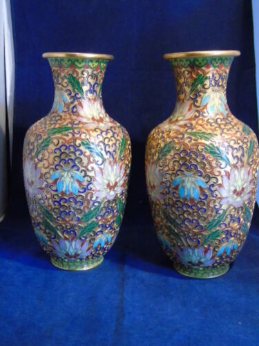 Pair of Modern Matching Chinese Champleve Vases