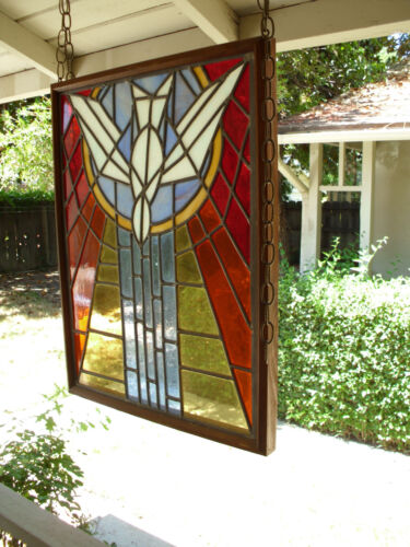 Vintage Church Stained Glass Window Salvage Bird Leaded HOLY SPIRIT DOVE Peace