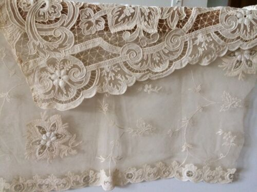 Antique French Lace Tambour Vintage  Salvage Lg Panel Collection Fabric Material
