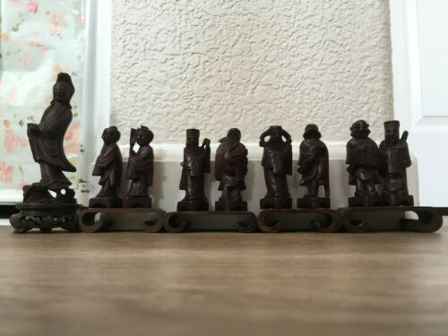 Antique Chinese Eight Fairies Festival Story Wood Figurines & Guanyin 9 Total