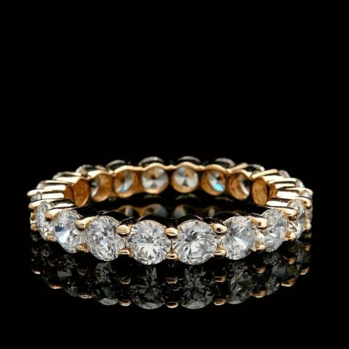 2CT CREATED DIAMOND ROUND CUT ETERNITY WEDDING BAND RING SOLID 14K YELLOW GOLD