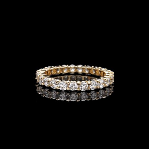 1CT CREATED DIAMOND ROUND CUT ETERNITY WEDDING BAND RING SOLID 14K YELLOW GOLD