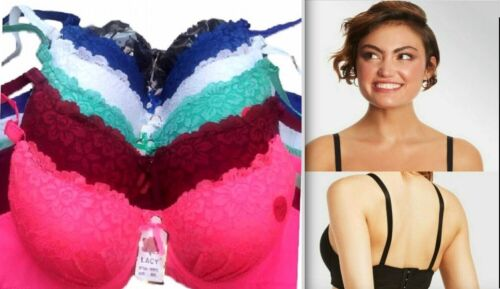 PACK OF 6 pcs BRAS, UNDERWIRE LACE Push Up Bra CUP SIZE 34-44 B C D NEW #99946