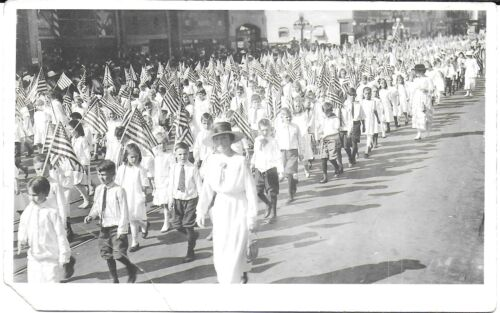 RPPC of Children w/ Flags Marching in a Liberty Bond Parade c1917
