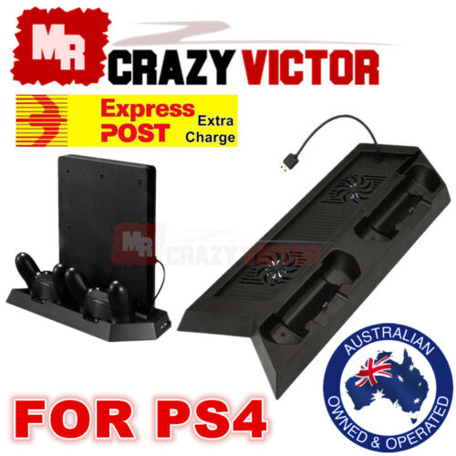 Playstation PS4 & Slim 3in1 Vertical Stand Dock Controller Cooling Fan Charger