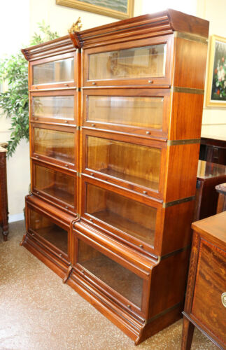 Pair Beautiful Oak Beveled Glass Sectional Barrister Lawyers Bookcases W Brass