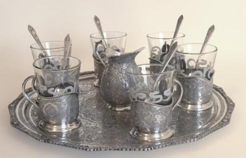Set of Persian 84 Silver Tea Set With Tray Lot 378
